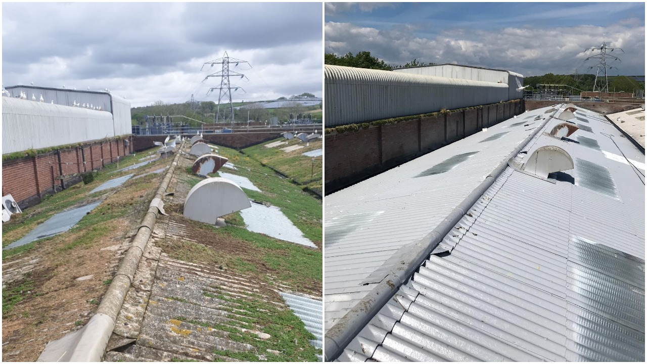 asbestos roof repaired with protective coating
